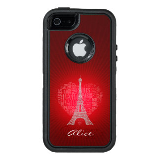Glow Red Love Paris | Personalized OtterBox iPhone 5/5s/SE Case