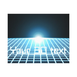 Glowing 3D-Grid with customizable text Canvas Prints