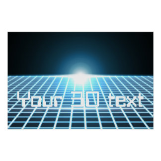 Glowing 3D-Grid with customizable text Print