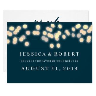 Glowing Bistro Lights Wedding RSVP Card