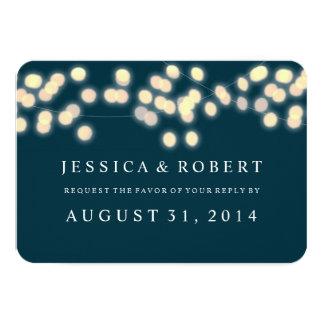 Glowing Bistro Lights Wedding RSVP Card 9 Cm X 13 Cm Invitation Card