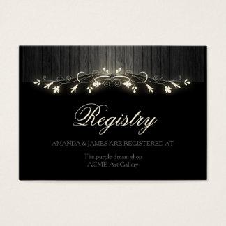 Glowing black & white wedding registry hhn02 business card
