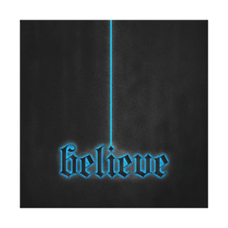 Glowing Blue Believe Stretched Canvas Print