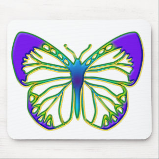Glowing Blue Butterfly Mouse Pad
