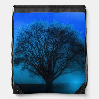 Glowing Blue Magical Tree of Life Drawstring Bag
