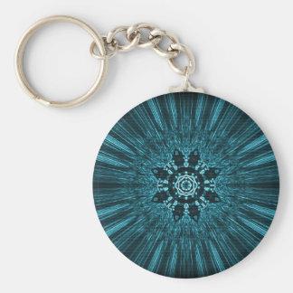 Glowing Blue Winter Snowflake Key Ring
