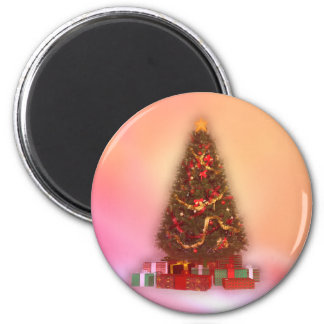 Glowing Christmas Tree: 6 Cm Round Magnet