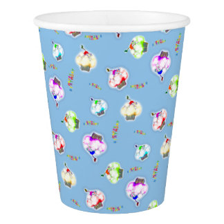 Glowing colored cupcakes on blue paper cup