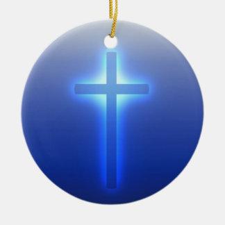 Glowing Cross Ceramic Ornament