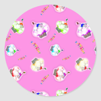 Glowing cupcakes on pink classic round sticker