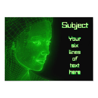 Glowing Cyberspace Cyberwoman - customizable text 11 Cm X 16 Cm Invitation Card