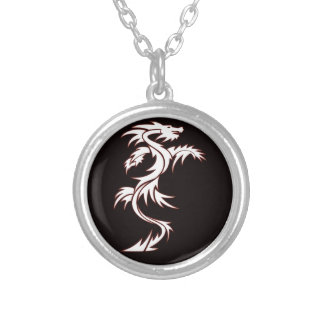 Glowing dragon silver plated necklace