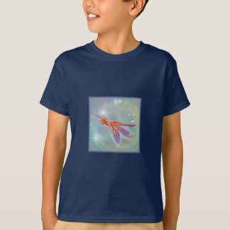 """Glowing Dragonfly"" Kid's Dark T-Shirt"