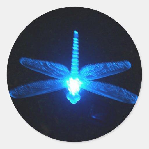Glowing Dragonfly Round Sticker