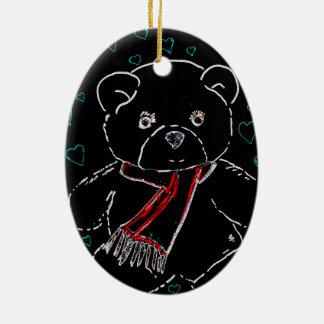 Glowing Edge Teddy Bear Love Ceramic Oval Decoration