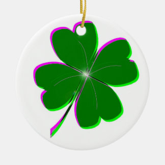 Glowing Four Leaf Clover Ceramic Ornament