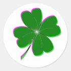 Glowing Four Leaf Clover Classic Round Sticker