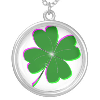 Glowing Four Leaf Clover Round Pendant Necklace
