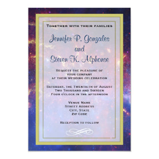 Glowing Galaxy in Outer Space Wedding Card