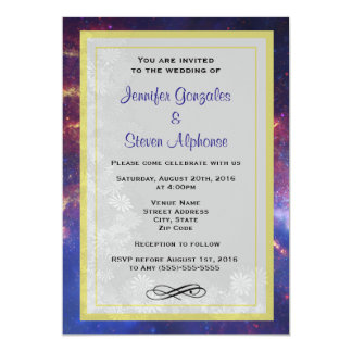 Glowing Galaxy in Outer Space Wedding 13 Cm X 18 Cm Invitation Card