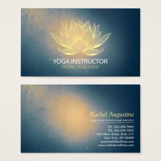 Glowing Gold Lotus and Blue Grunge Yoga Instructor Business Card