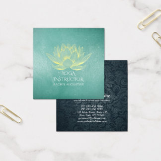 Glowing Gold Lotus and Teal Grunge Yoga Instructor Square Business Card