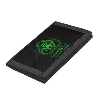 Glowing Green Biohazard Symbol Tri-fold Wallet