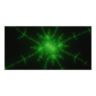 Glowing Green Fractal Explosion Photo Card
