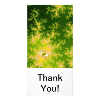Glowing Green Fractal Custom Photo Card