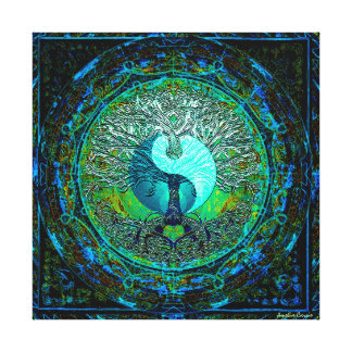 Glowing Green Yin Yang Canvas Print