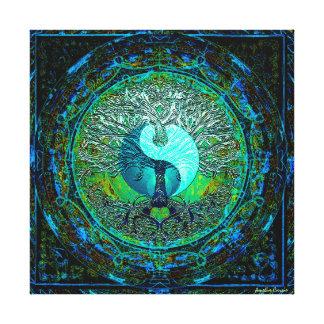 Glowing Green Yin Yang Canvas Print