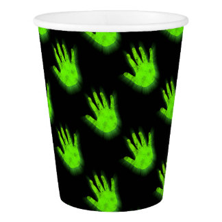 Glowing hand print. paper cup