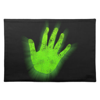 Glowing hand print. placemat