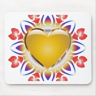 Glowing heart products. mouse pad