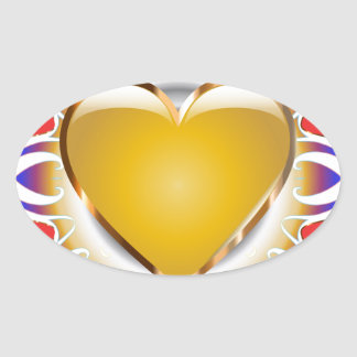 Glowing heart products. oval sticker