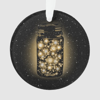 Glowing Jar Of Fireflies With Night Stars Ornament