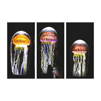 Glowing Jellyfish and Angel Canvas Triptych Art Canvas Prints
