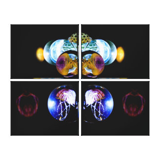 Glowing Jellyfish Mirror Quad Triptych Art Canvas Print