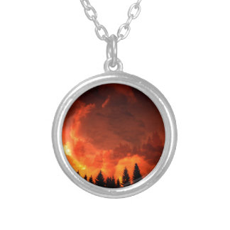Glowing Landscape Silver Plated Necklace