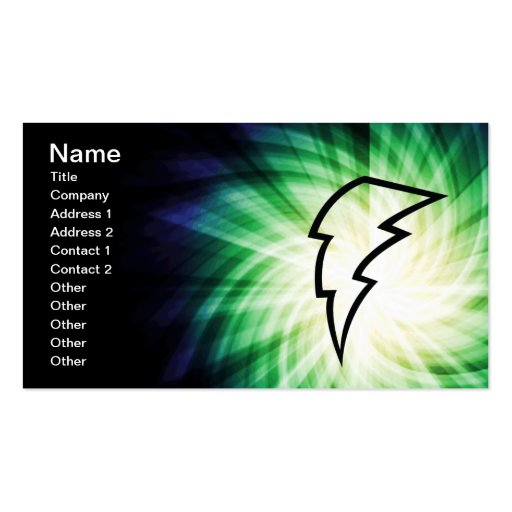 Glowing Lightning Bolt Business Cards