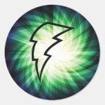 Glowing Lightning Bolt Round Stickers