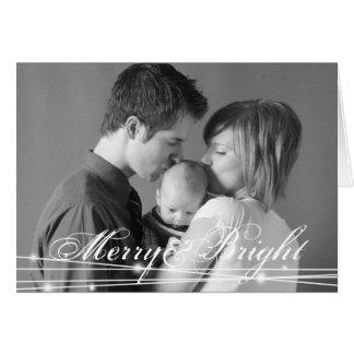Glowing merry & bright family christmas photo chic card