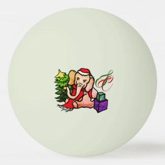 Glowing Monogram Cartoon Christmas Santa Elephant Ping Pong Ball
