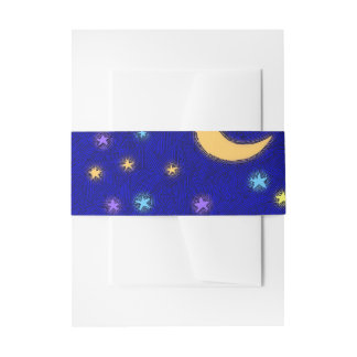Glowing Moon and Stars Etching Pattern Bands Invitation Belly Band