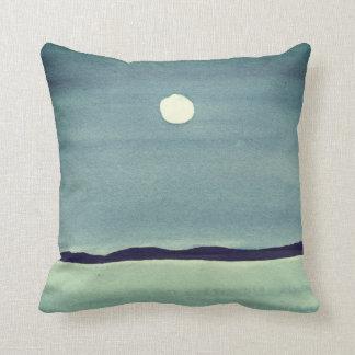 Glowing Moon Over Ocean Cushion