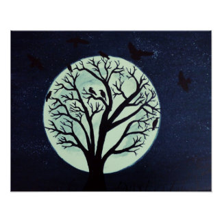 Glowing Moonlit Tree with Crows Poster