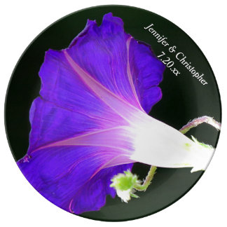 Glowing Morning Glory Personalized Wedding Porcelain Plate