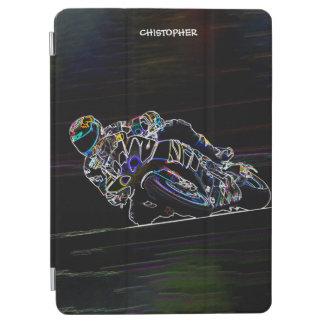 Glowing Motorcycle Rider Circle Racing Sketch iPad Air Cover