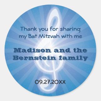 Glowing Music Clef Bar-Bat Mitzvah Round Sticker