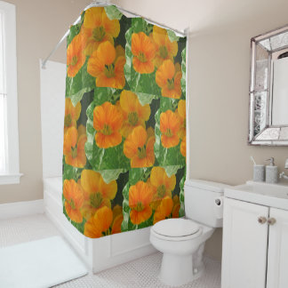 Glowing Nasturtiums Shower Curtain